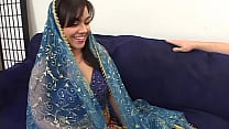 Chubby indian girl is doing her first porn casting and starts with a double