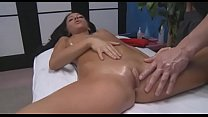 Fellow's huge penis enters her clean shaved pink cunt