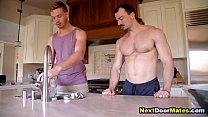 Gay hunks take a break from work - gay massage & muscle worship