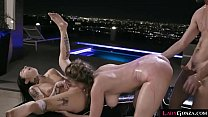 Hot hardcore threesome with such babes Joanna Angel and Lena Paul that gets their pussies slammed together