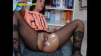Sexy european brunette spreads her legs and pla... thumb