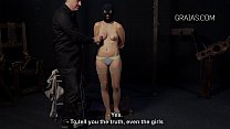 Masked beauty get her nipples twisted's Thumb