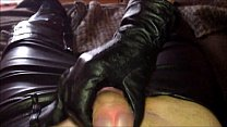 Leather gloves cum fetish thumb