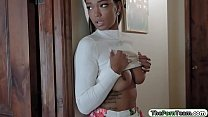 Ebony teen sneaks on her bro and fucked