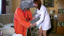 BBW chubby Nurse masturbate with old Granny