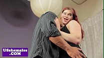 Redhead shemale with big tits gets assfucked