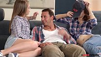 Horny college roomes Alessandra & Macy 1st time Threesome - 9Club.Top