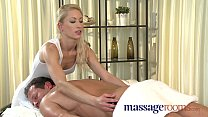 Image: Massage Rooms Skinny blonde has tight pussy filled in steamy oily encounter