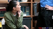 Asian teen shoplifter caught but seduces the se...