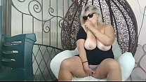 BBW with big boobs outdoors play in garden