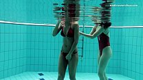 Image: Lesbian fun underwater and naked stripping