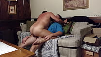 Horny big assed MILF fucking on stepmom's couch...