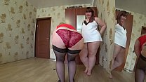 Fat lesbians try on panties, busty milf doggystyle shakes a big ass and girlfriend fucks her. Fetish.