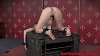 Restrained sub ass fingered on all four video