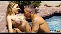 DADDY4K. Skinny nymph copulates with BFs father in the swimming pool