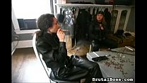 three-mistresses-take-their-turns-abusing-a-helpless-slave-reddening-his-buns-with-their-whips-and-p preview image