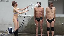 Japanese Femdom Risa shaves the slave and takes a shower.