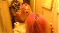 bathroom in bbc by fucked getting hair pink with girl White