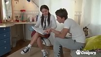 ALPHA-Horny school teen couple trying anal sex