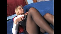 Busty blde MILF teases in sheer black pantyhose - 9Club.Top