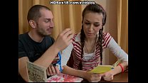 Girl with pigtails fucks on the table thumbnail