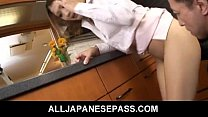 Japanese housewife gets fucked in her kitchen