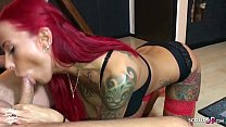 German Redhead Fitness Teen Anni Angel Fuck older Guy and let him Cum in Face