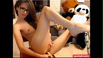 Horny brunette fucking herself on cam Thumbnail