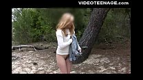 Blonde teen Fabienne at beach