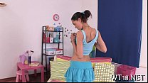 Playful sweetheart pretty removes guy's