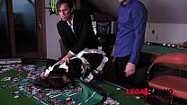 Submissive Maid Henessy Bound in Chains & DP'ed Balls Deep On Poker Table GP095