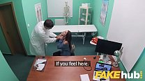 Fake Hospital Swallowing doctors hot cum helps soothe babes throat thumbnail