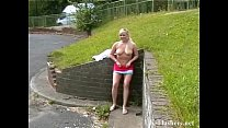 Busty blonde flashers outdoor masturbation and ...