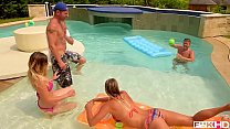 Horny summer hotties Alice & Christen Courtney fucked by three studs