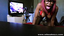 Black Teen Ebony Banks gets her first Anal Crea...