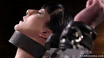 Bound slave shocked with cattle prod
