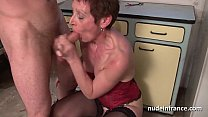 Amateur french mature in lingerie fucked hard and facial by the gardener thumbnail
