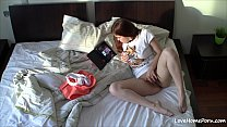 Brown-haired babe masturbates next to her laptop