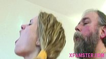 Old young fuck scene cumshot on chest of young ...