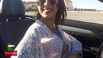 Oops! Great downblouse driving a cabriolet nipple slip with cute tits FER video