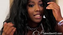 Super hot black stepdaughter seduce old dad