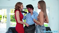 Milf beauty pounded in threesome action