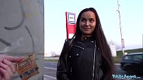 Public Agent Monica Brown has her tight Russian pussy fucked outdoors