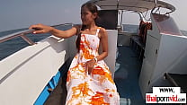 Skinny amateur Thai teen Cherry fucked on a boat outdoor in doggystyle