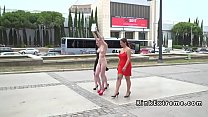 Shaved head slave walked naked in public