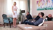Fantastic Five Busty Blonde Sucks down 4 Hot loads