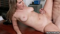 Hot sexy blonde thief Eliza Eves gets a hard twat pounding over the desk by the pervy officer