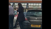 Candid Sexy High Heels In Car Park