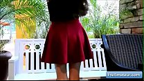Sexy hot natural brunette amateur teen Nina finger herself on the patio for intense orgasm