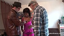 Black slut in lingerie hard ass fucked in threeway with Papy voyeur preview image